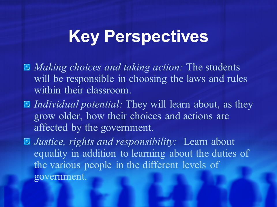 Key Perspectives Making choices and taking action: The students will be responsible in choosing the laws and rules within their classroom.