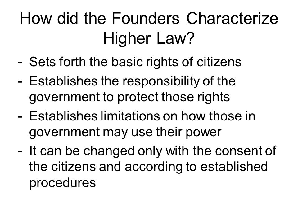How did the Founders Characterize Higher Law
