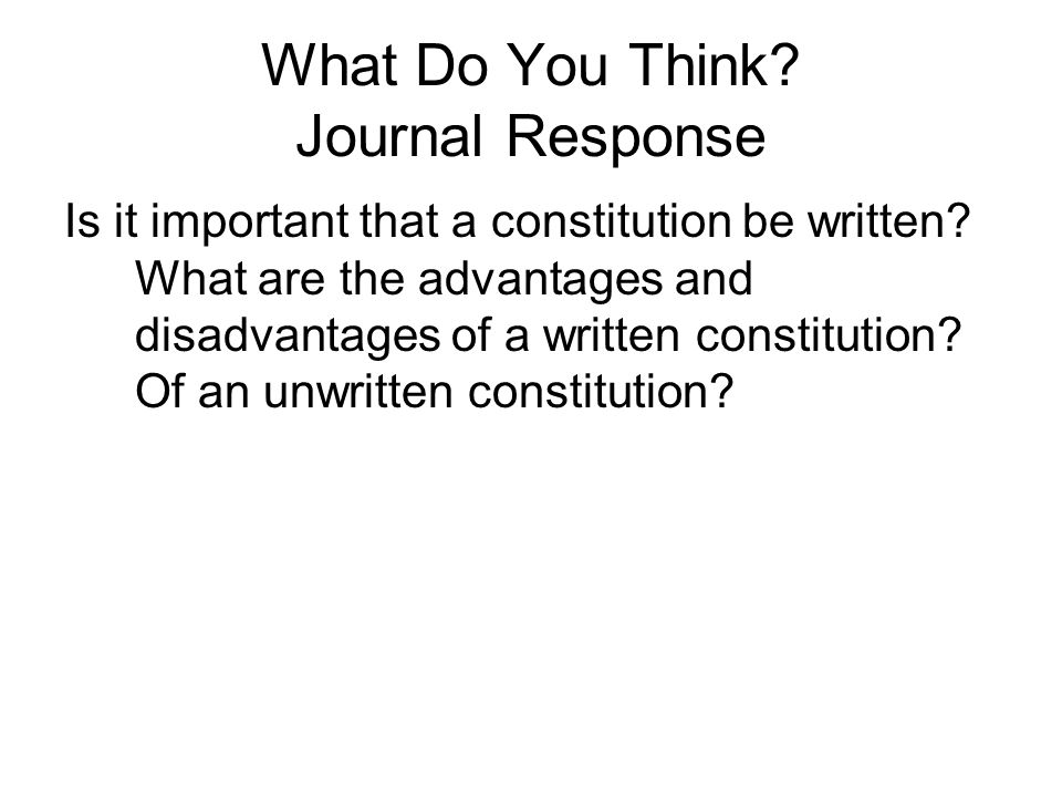 What Do You Think Journal Response