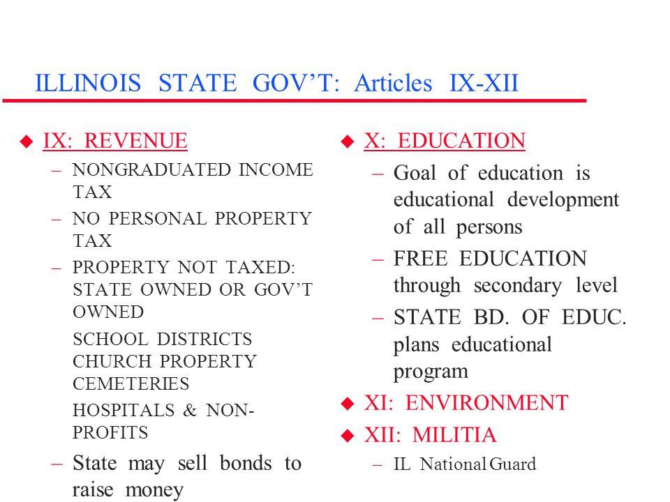 ILLINOIS STATE GOV'T: Articles IX-XII