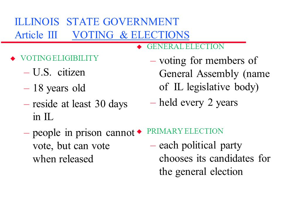 ILLINOIS STATE GOVERNMENT Article III VOTING & ELECTIONS