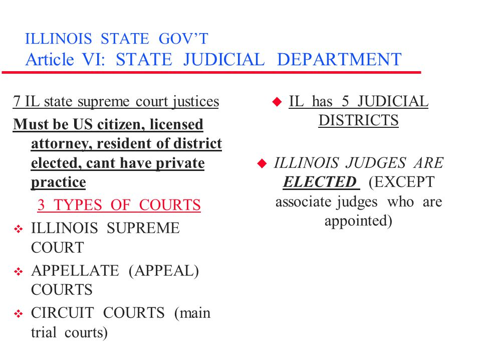 ILLINOIS STATE GOV'T Article VI: STATE JUDICIAL DEPARTMENT