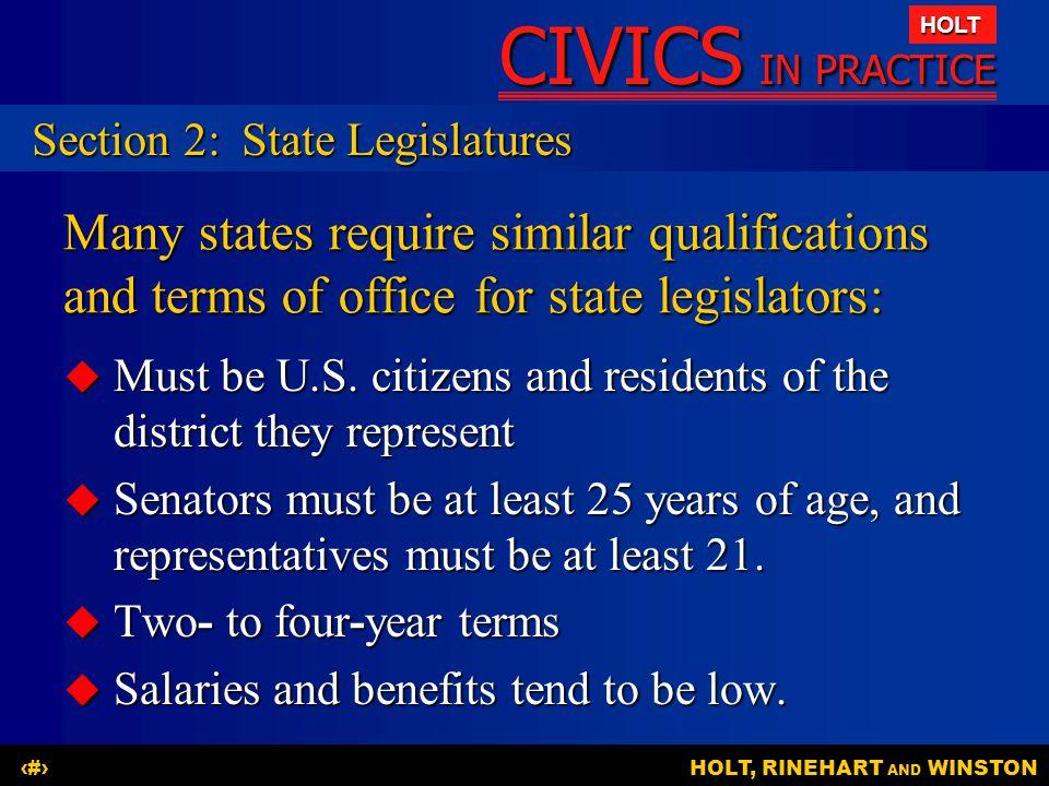 Section 2: State Legislatures