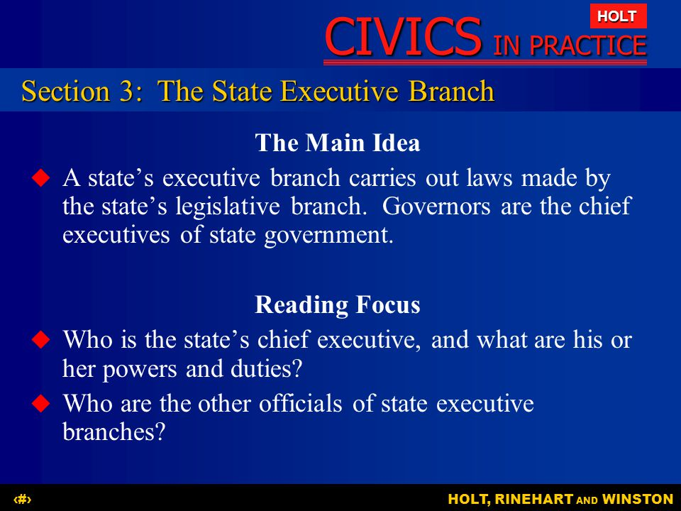 Section 3: The State Executive Branch