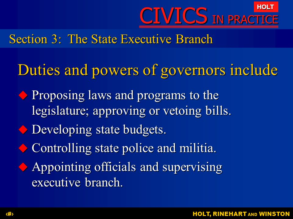 Duties and powers of governors include