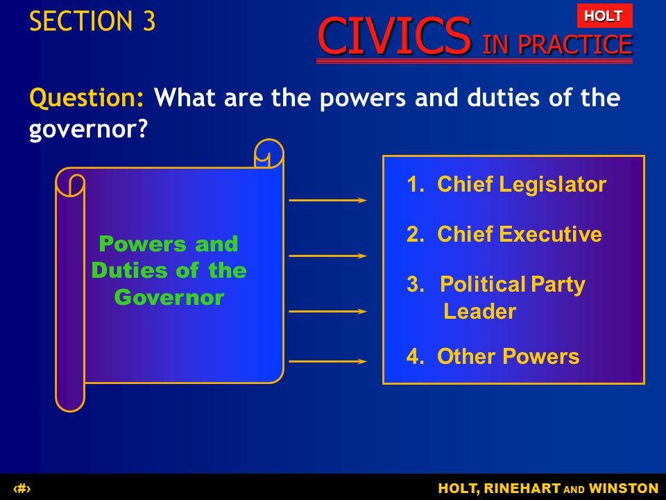 Powers and Duties of the Governor
