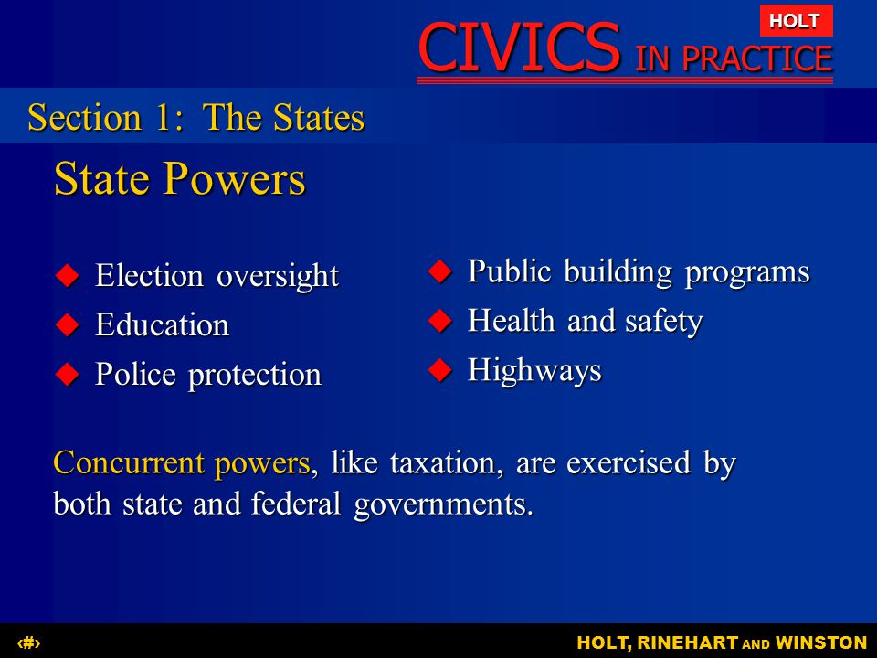 State Powers Section 1: The States Public building programs