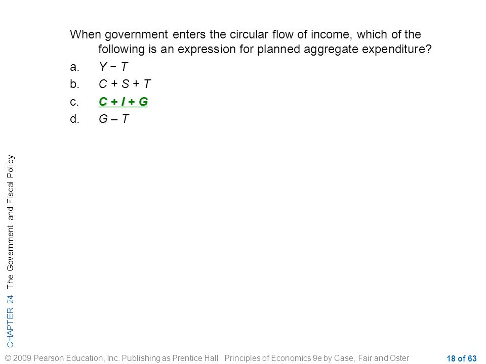 When government enters the circular flow of income, which of the following is an expression for planned aggregate expenditure