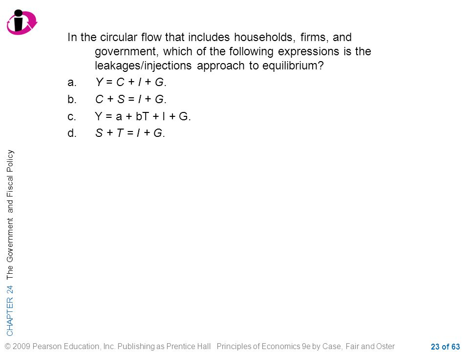 In the circular flow that includes households, firms, and government, which of the following expressions is the leakages/injections approach to equilibrium