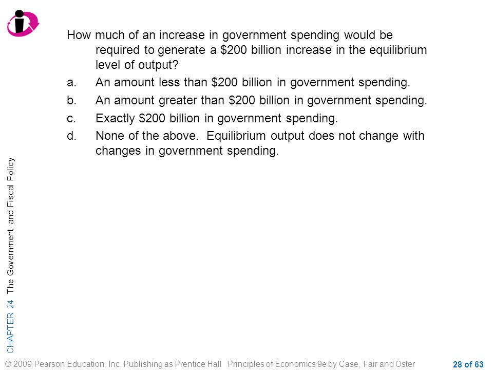 How much of an increase in government spending would be required to generate a $200 billion increase in the equilibrium level of output