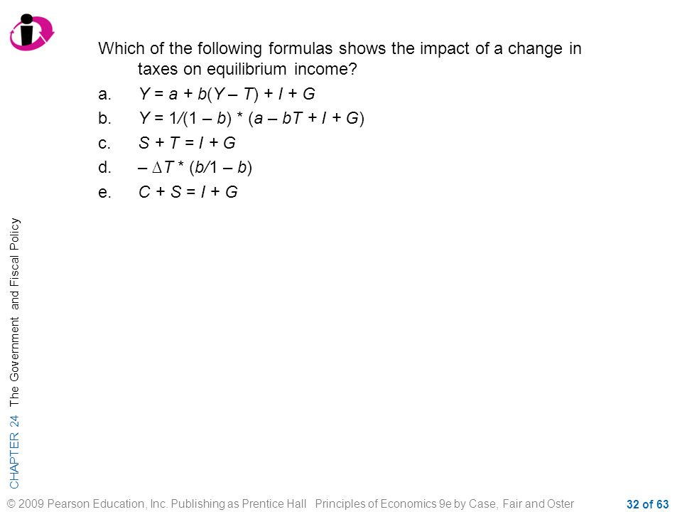 Which of the following formulas shows the impact of a change in taxes on equilibrium income