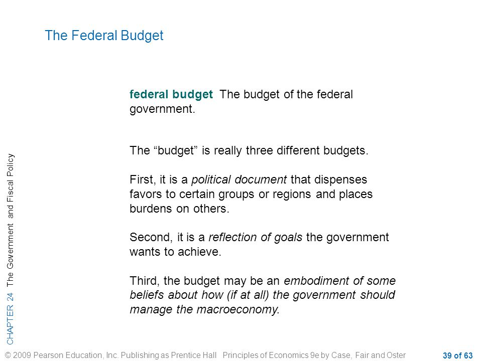 The Federal Budget federal budget The budget of the federal government. The budget is really three different budgets.