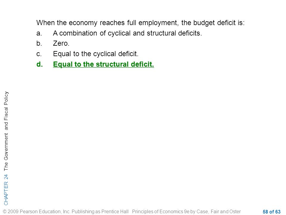 When the economy reaches full employment, the budget deficit is: