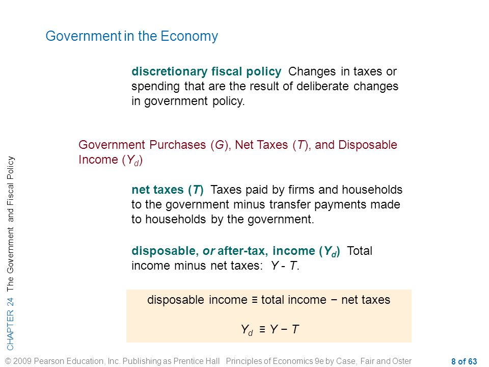 disposable income ≡ total income − net taxes