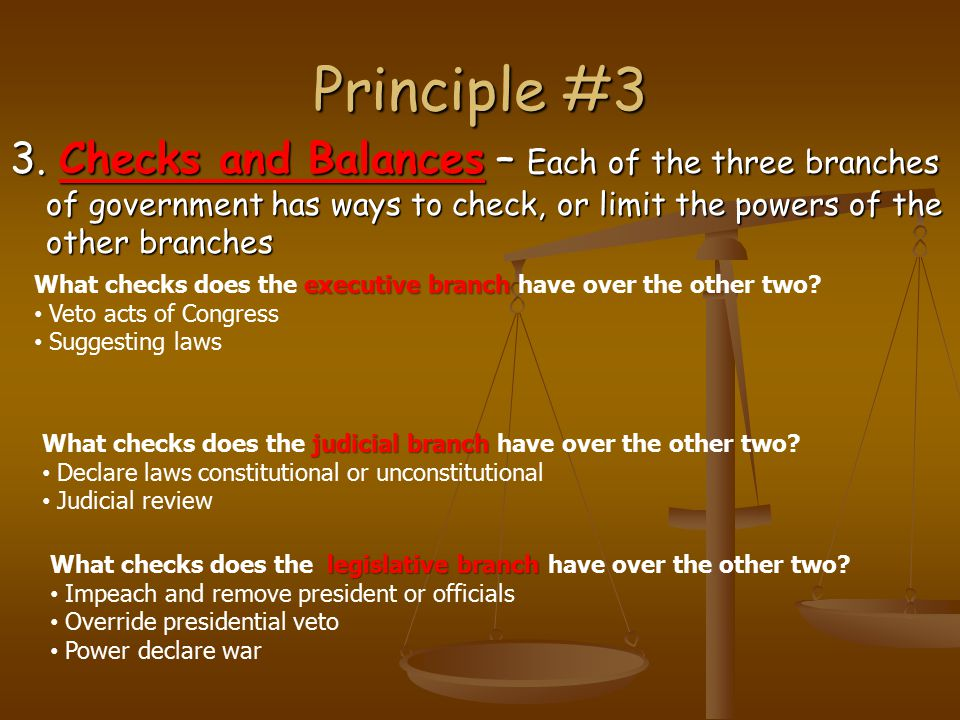 Principle #3 3. Checks and Balances – Each of the three branches of government has ways to check, or limit the powers of the other branches.