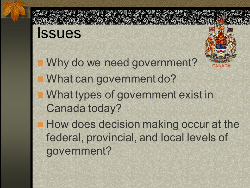 Issues Why do we need government What can government do