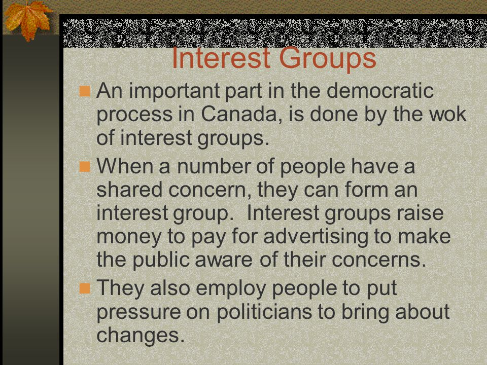 Interest Groups An important part in the democratic process in Canada, is done by the wok of interest groups.