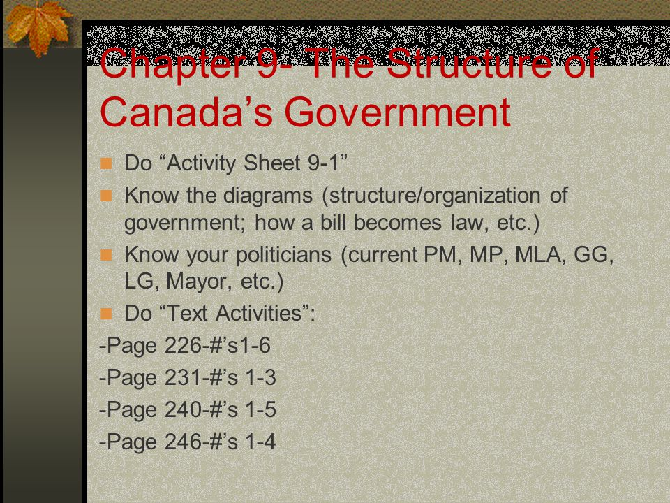 Chapter 9- The Structure of Canada's Government