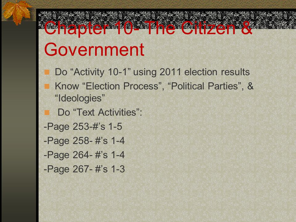 Chapter 10- The Citizen & Government