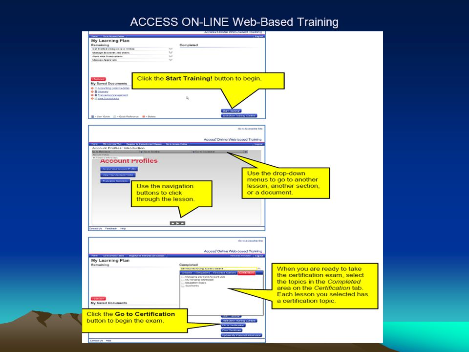 ACCESS ON-LINE Web-Based Training