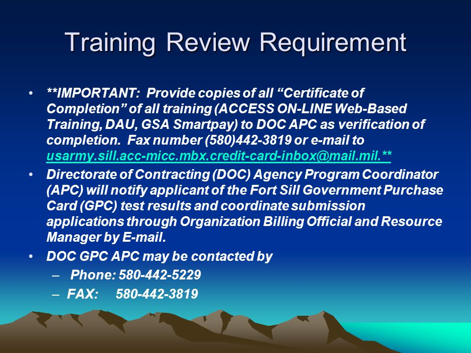 Training Review Requirement