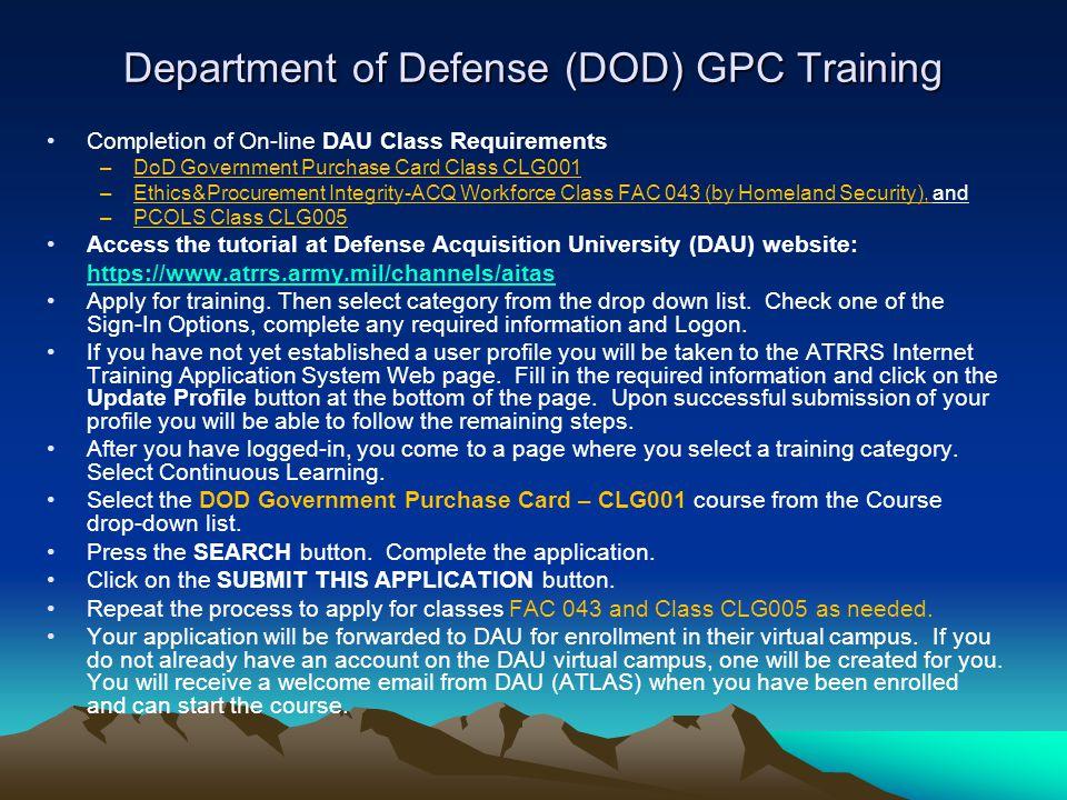 Department of Defense (DOD) GPC Training