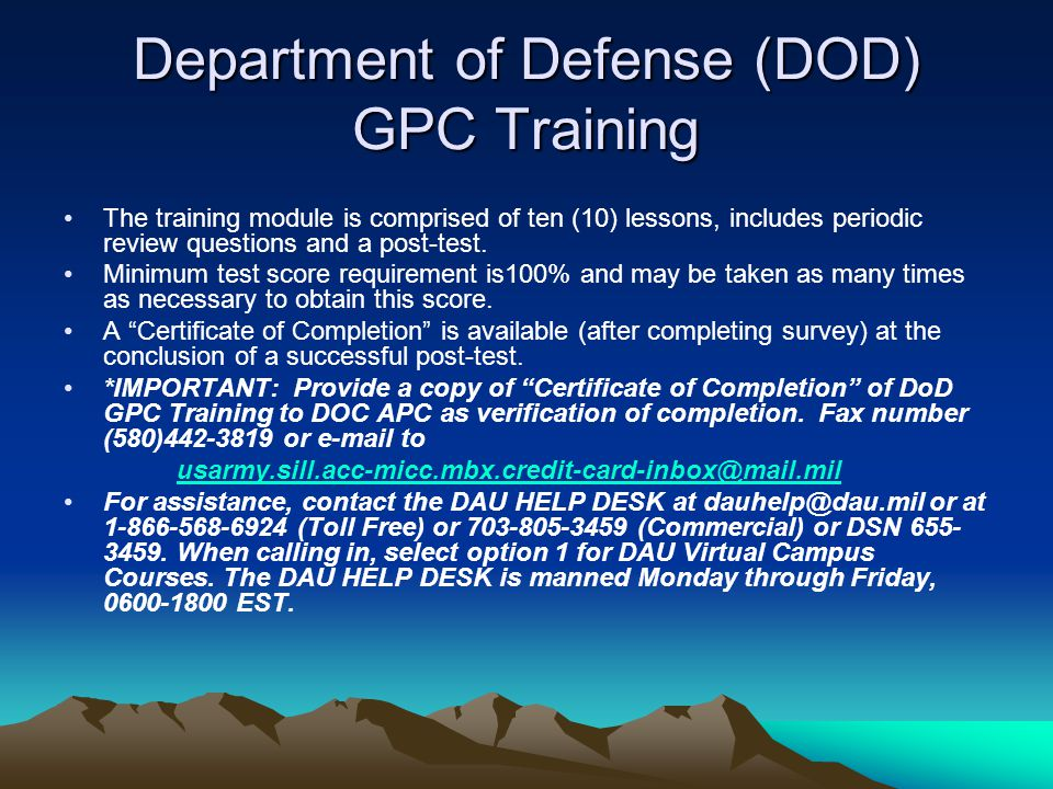 Department of Defense (DOD) GPC Training