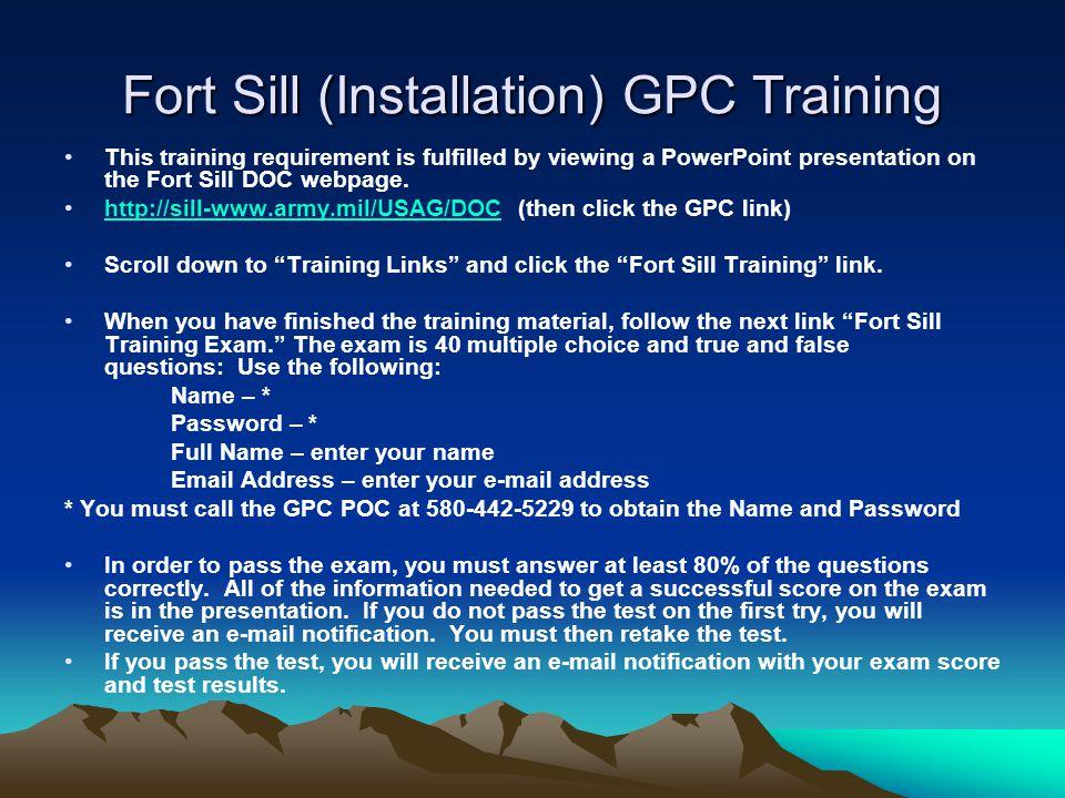 Fort Sill (Installation) GPC Training