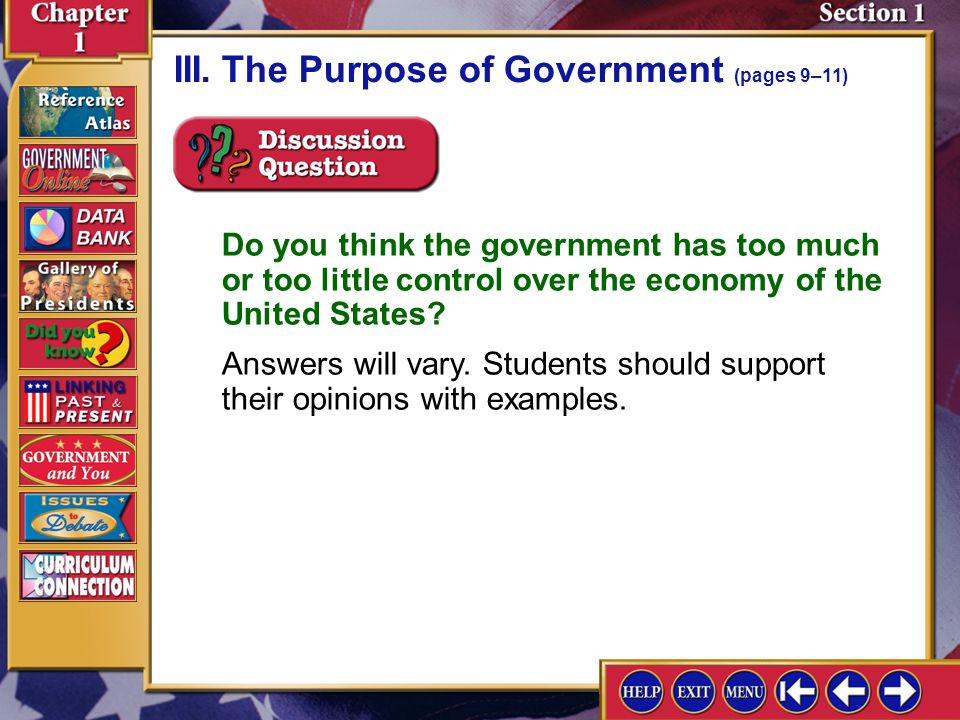 III. The Purpose of Government (pages 9–11)