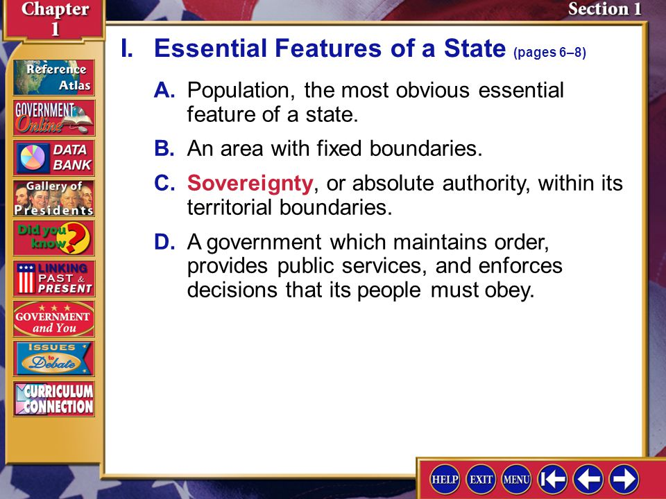 I. Essential Features of a State (pages 6–8)