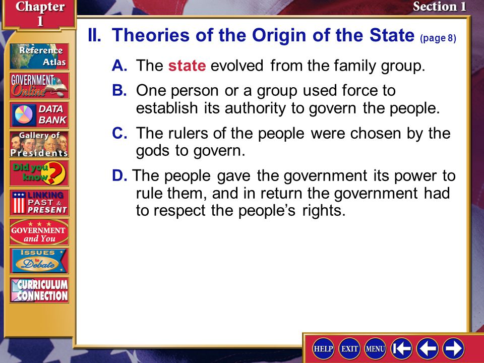 II. Theories of the Origin of the State (page 8)