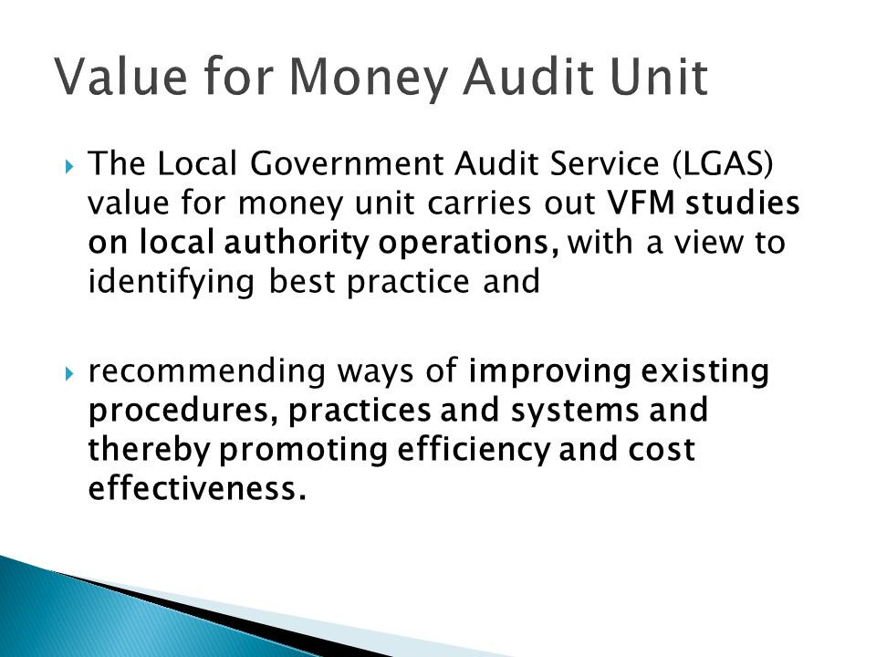 Value for Money Audit Unit