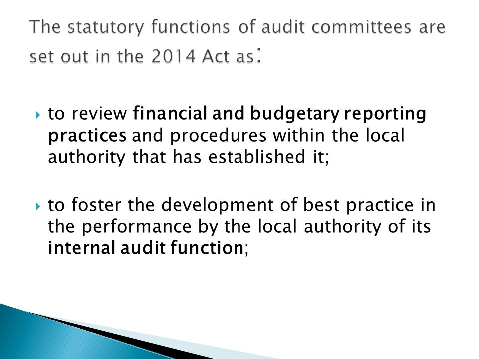 The statutory functions of audit committees are set out in the 2014 Act as: