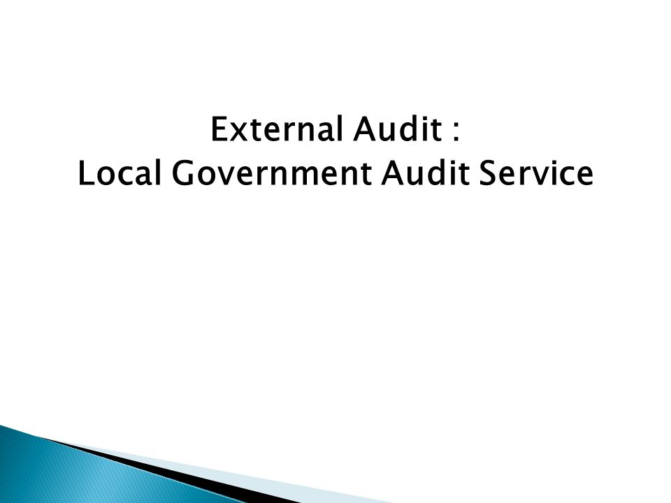 External Audit : Local Government Audit Service
