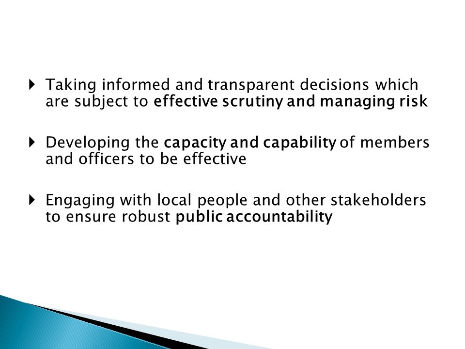 Taking informed and transparent decisions which are subject to effective scrutiny and managing risk