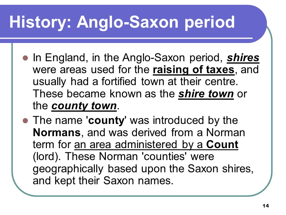 History: Anglo-Saxon period