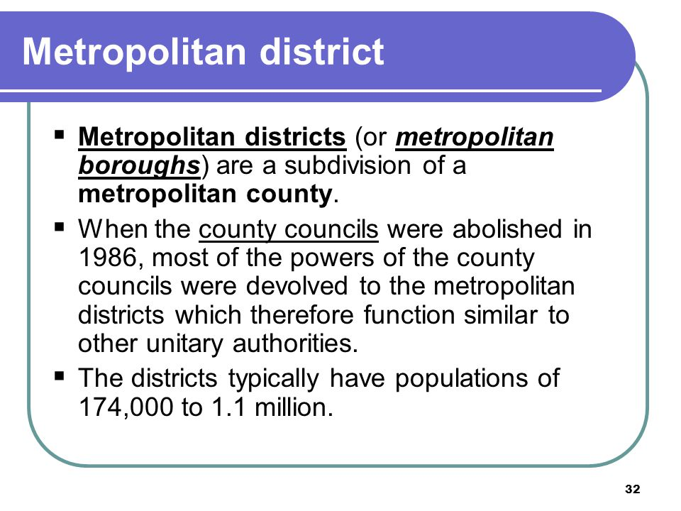 Metropolitan district