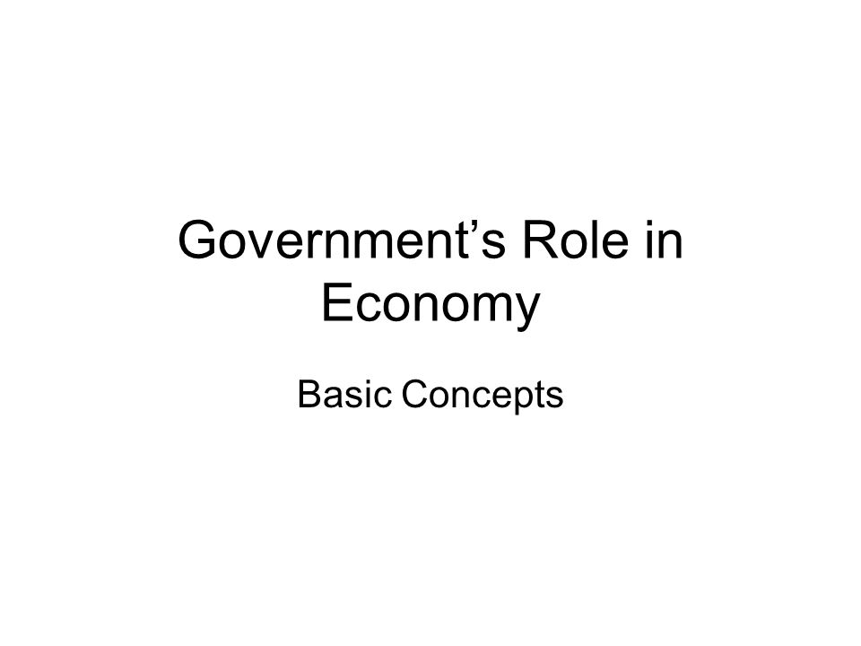 Government's Role in Economy