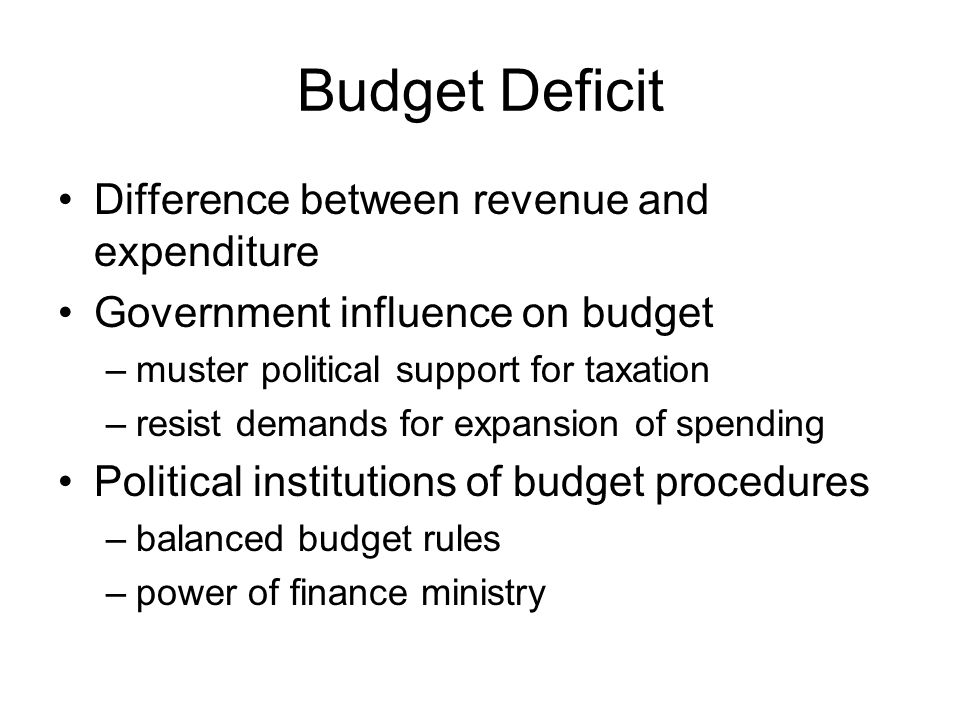 Budget Deficit Difference between revenue and expenditure