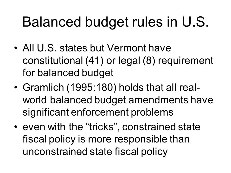 Balanced budget rules in U.S.