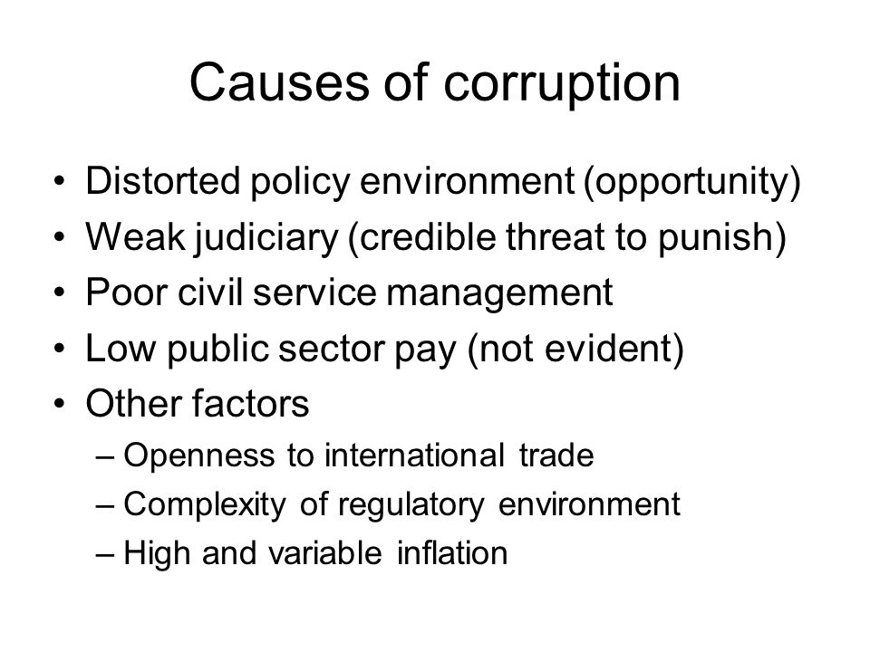 Causes of corruption Distorted policy environment (opportunity)