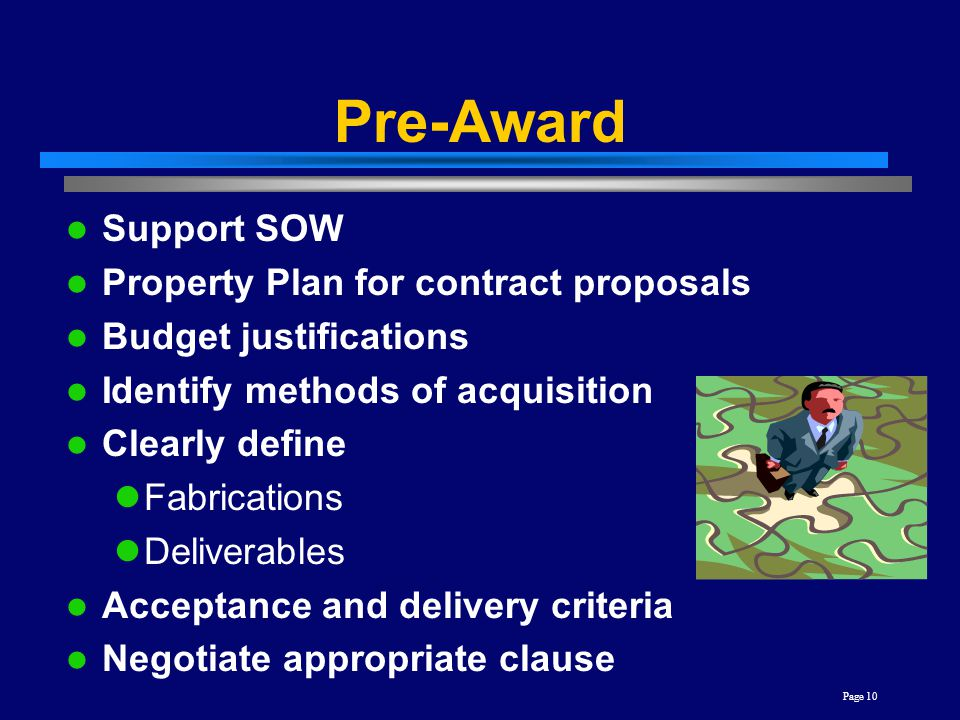 Pre-Award Support SOW Property Plan for contract proposals