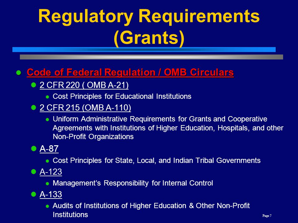 Regulatory Requirements (Grants)