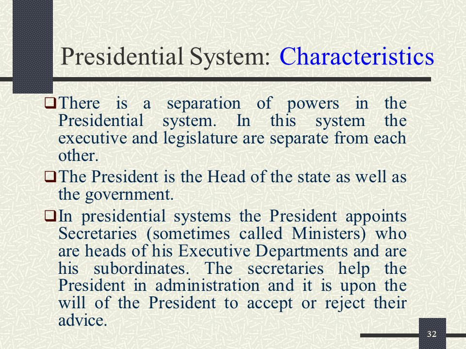 Presidential System: Characteristics