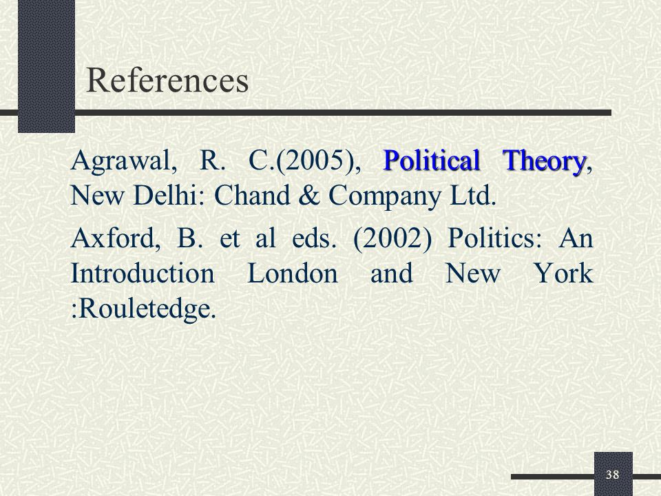 References Agrawal, R. C.(2005), Political Theory, New Delhi: Chand & Company Ltd.