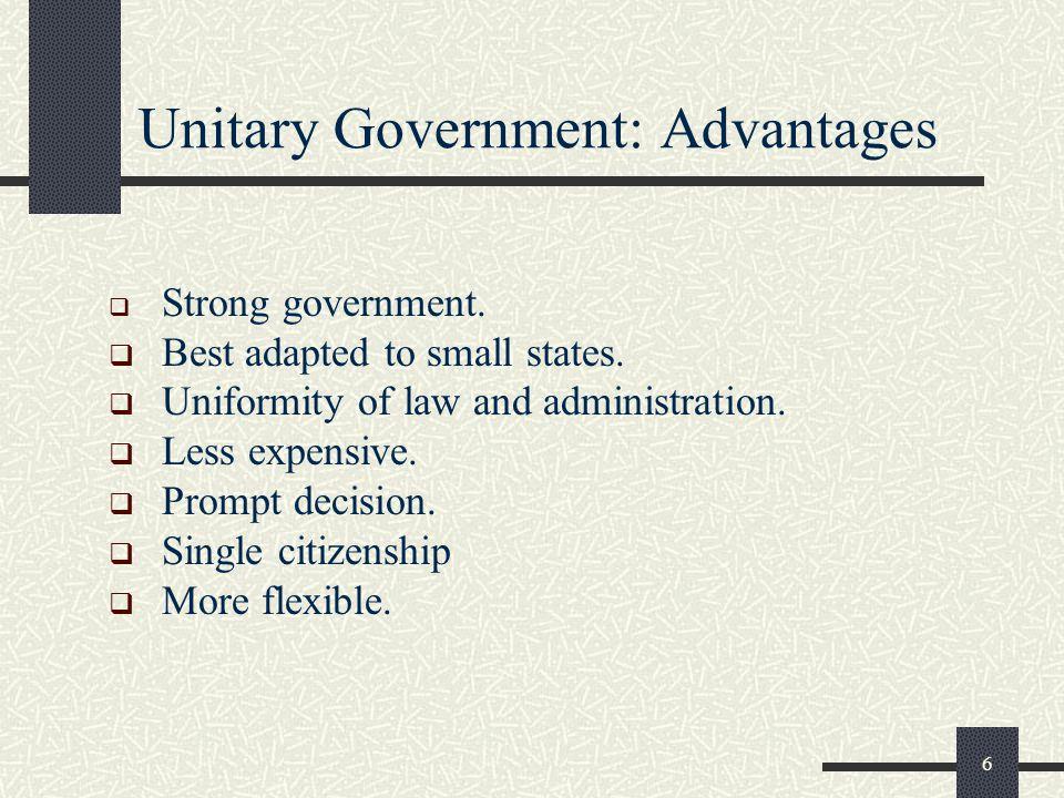 Unitary Government: Advantages