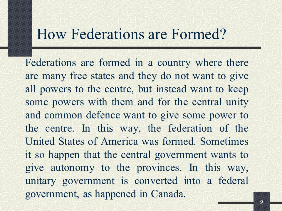 How Federations are Formed