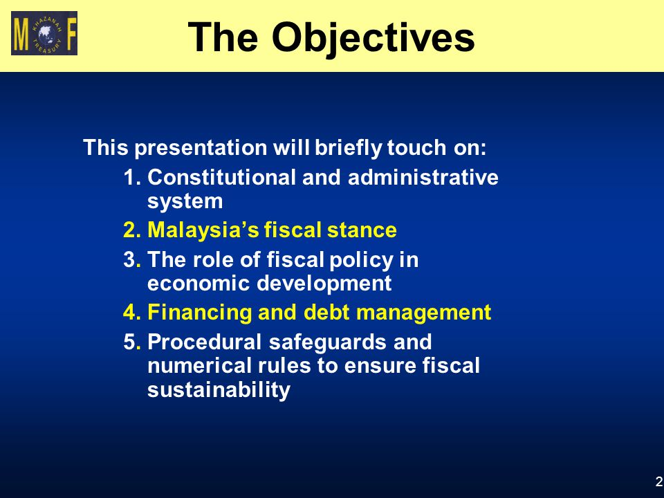 The Objectives This presentation will briefly touch on: