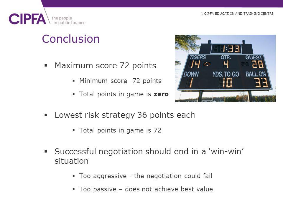 Conclusion Maximum score 72 points Lowest risk strategy 36 points each