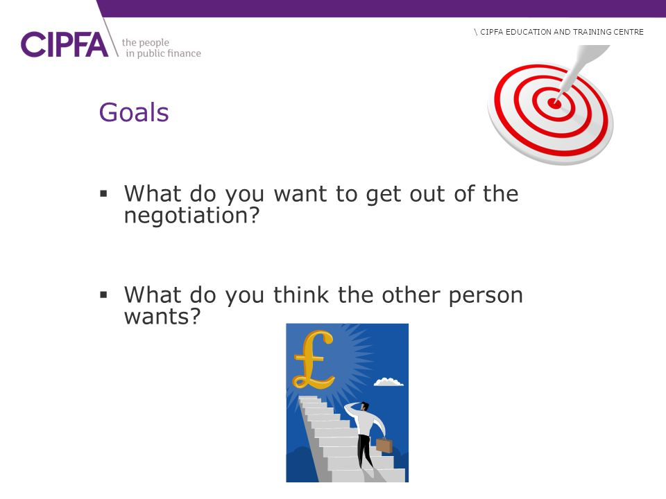Goals What do you want to get out of the negotiation